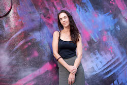 ADT's 2021 Associate Artist Adrianne Semmens. Photo by Sam Roberts Photography; Goodwood Train Station artwork by Elizabeth Close, Shane Cook and Thomas Readett.
