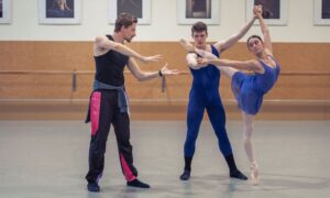 Loughlan Prior working with NZSD students Louise Camelbeke and Zachary Healy. Photo by Amber Griffin.