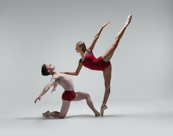 New Zealand School of Dance students Huw Pritchard and Charly Hopkins. Photo by Stephen A'Court.